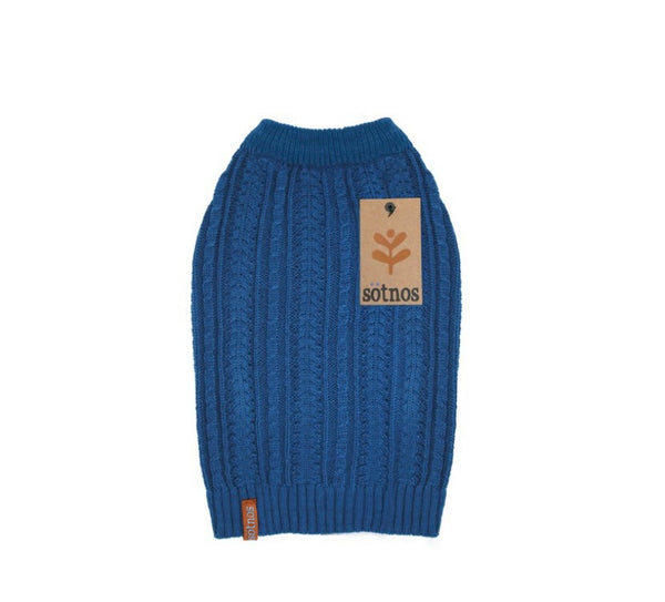 Teal Cable Knit Dog Sweater By Sotnos