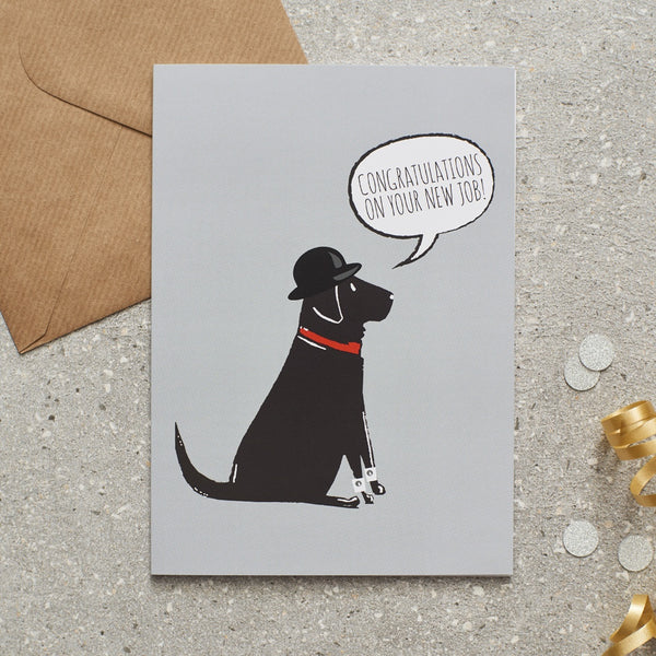 Black Lab New Job Dog Greetings Card By Sweet William