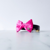 Pink Pop Velvet Bow Tie By The Distinguished Dog Company