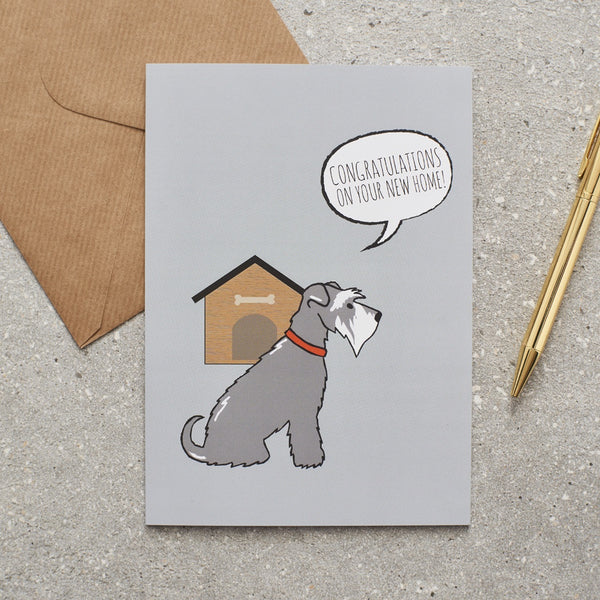 Grey Schnauzer New Home Dog Greetings Card By Sweet William