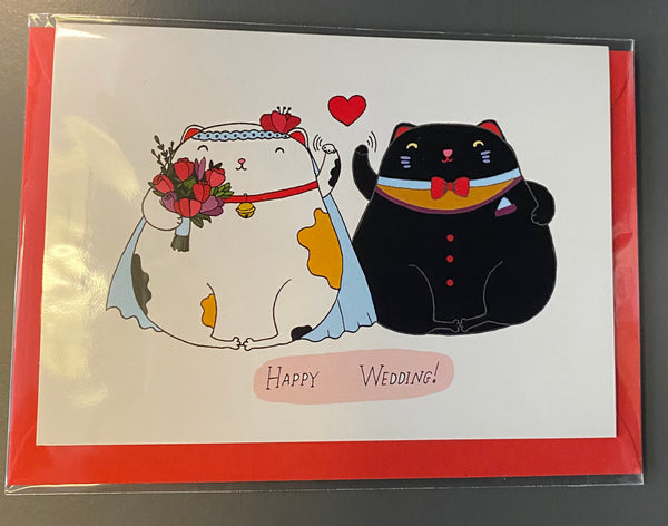 Lucky Cat Wedding Greeting Card By Forever Funny