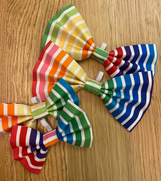 Stripe Rainbow Dog Bow Tie By Urban Tails