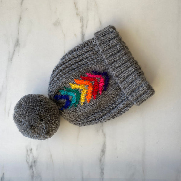 Rainbow Chevron Hand Knitted Bobble Hat By The Distinguished Dog Company