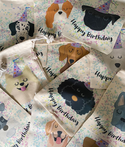 Happy Birthday Confetti Dog Keepsake Bag By Hoobynoo