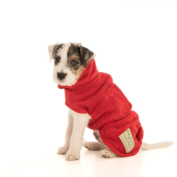 Brick Red Classic Dog Drying Coat By Ruff & Tumble