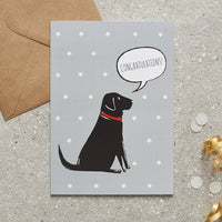 Black Lab Congrats Dog Greetings Card By Sweet William