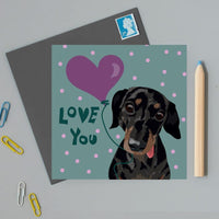 Love You Slinky Dachshund Dog Greeting Card By Lorna Syson
