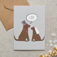 Choc Lab Wedding Greetings Card By Sweet William