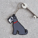 Grey Schnauzer Dog Keyring By Sweet William