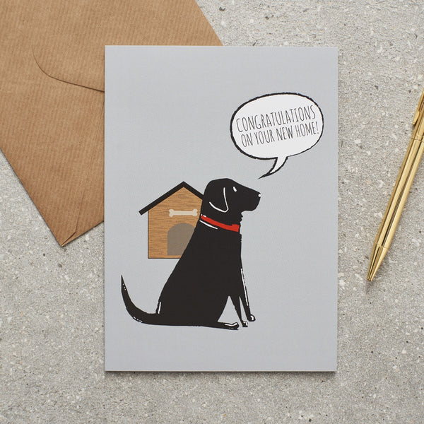 Black Lab New Home Dog Greetings Card By Sweet William