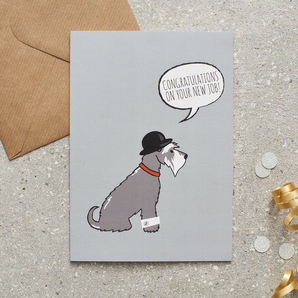 Grey Schnauzer New Job Dog Greetings Card By Sweet William