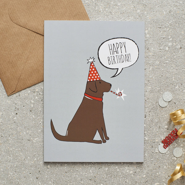 Choc Lab Happy Birthday Dog Greetings Card By Sweet William