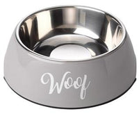 Woof Grey Dog Bowl By House Of Paws