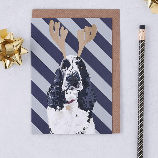 Christmas Cocker Spaniel Dog Greeting Card By Lorna Syson