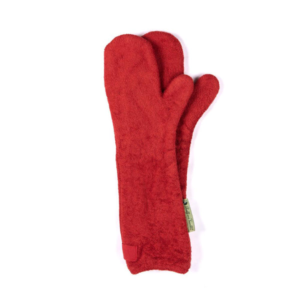 Brick Red Towelling Dog Drying Gloves By Ruff & Tumble