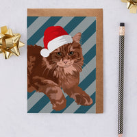 Christmas Maine Coon Cat Greeting Card By Lorna Syson