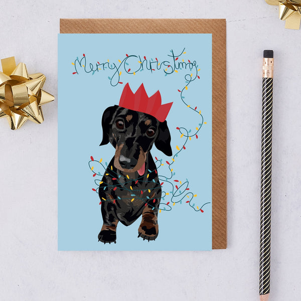 Christmas Slinky Dachshund Dog Greeting Card By Lorna Syson