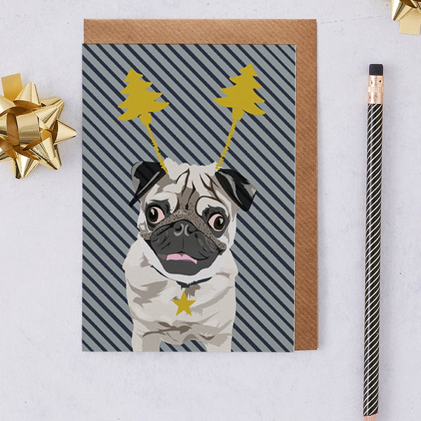 Christmas Pug Dog Greeting Card By Lorna Syson