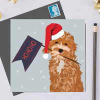 Christmas Cockapoo Dog Greeting Card By Lorna Syson