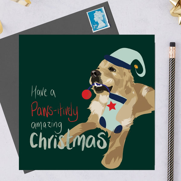 Christmas Golden Retriever Dog Greeting Card By Lorna Syson