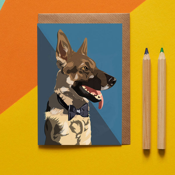German Shepard Dog Greeting Card By Lorna Syson