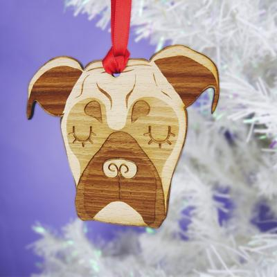 Boxer Dog Christmas Wooden Decoration By Hoobynoo