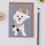 Christmas Bichon Frise Dog Greeting Card By Lorna Syson