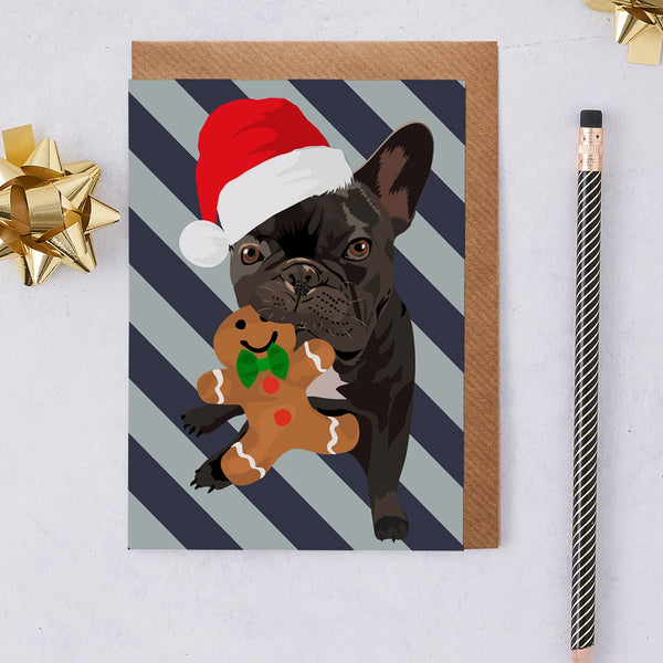 Christmas Frenchie Dog Greeting Card By Lorna Syson