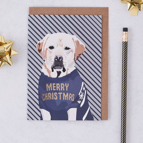 Christmas Yellow Labrador Dog Greeting Card By Lorna Syson