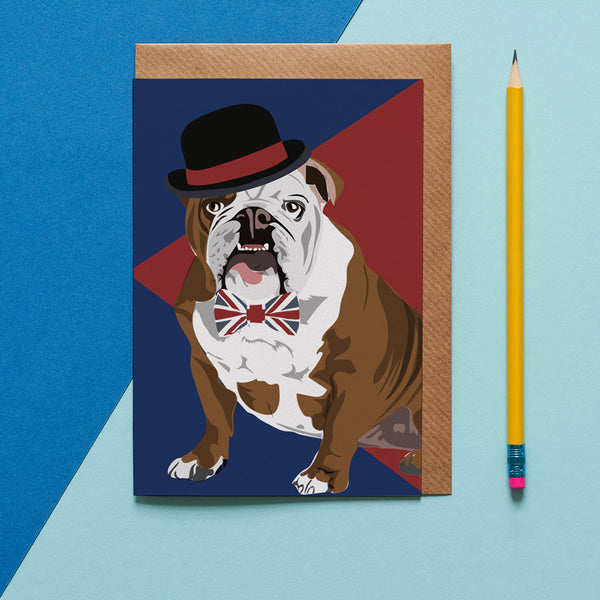 Churchill Bull Dog Greeting Card By Lorna Syson