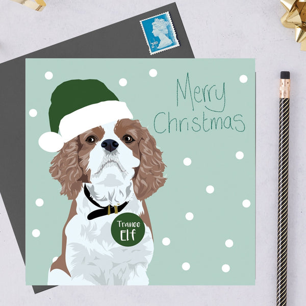 Christmas King Charles Spaniel Dog Greeting Card By Lorna Syson