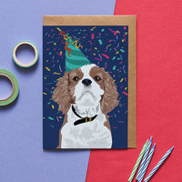 Caviller Dog Greeting Card By Lorna Syson
