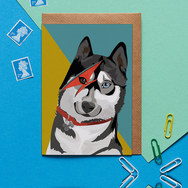 Husky Dog Greeting Card By Lorna Syson