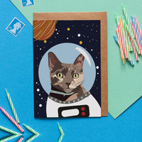 Space Cat Greeting Card By Lorna Syson