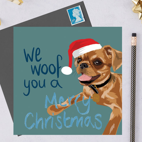 Christmas Brussel Griffon Dog Greeting Card By Lorna Syson