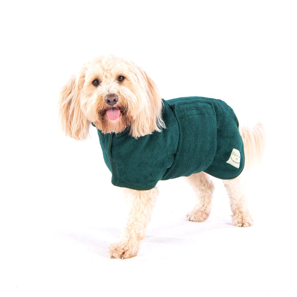 Bottle Green Classic Dog Drying Coat By Ruff & Tumble