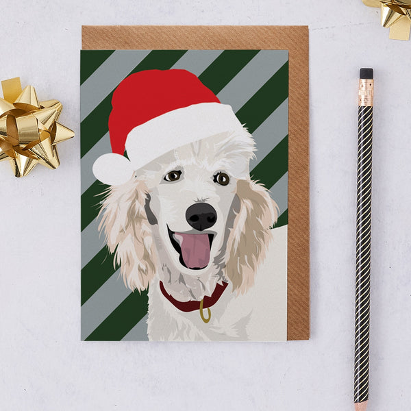 Christmas Poodle Dog Greeting Card By Lorna Syson