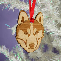Husky Dog Christmas Wooden Decoration By Hoobynoo