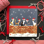 Cats On Wall Christmas Greeting Card By Illustrations By Abi