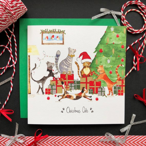Cats Christmas Night Greeting Card By Illustrations By Abi
