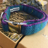 Harris Tweed Teal Dog Collar By Urban Tails