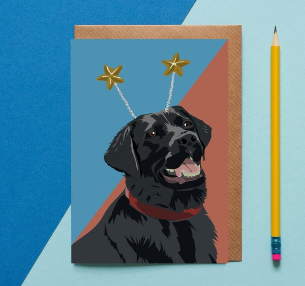 Black Labrador Dog Greeting Card By Lorna Syson