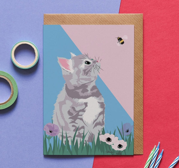 Garden Cat Greeting Card By Lorna Syson