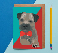 Border Terrier Dog Greeting Card By Lorna Syson