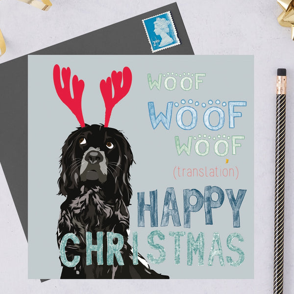 Christmas Spaniel Dog Greeting Card By Lorna Syson