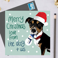 Christmas Jack Russel Dog Greeting Card By Lorna Syson