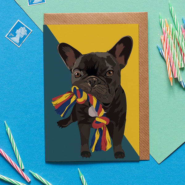 Frenchie Dog Greeting Card By Lorna Syson