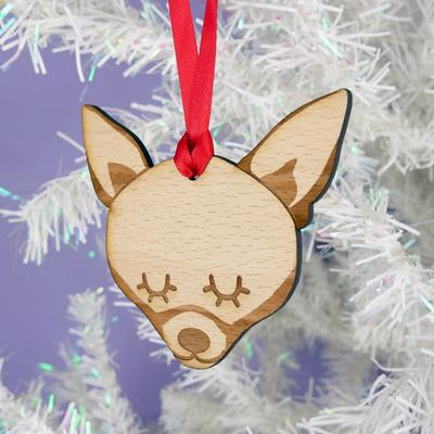 Chihuahua Dog Christmas Wooden Decoration By Hoobynoo