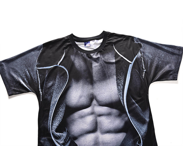 Men's Cool Fake two-piece T-shirt - 3D Muscle Print Round Neck 5198
