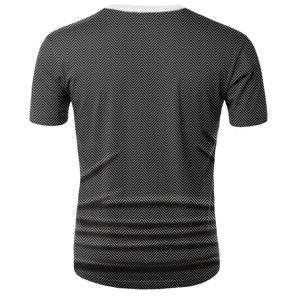 Men's Basic Polyester T-shirt - 3D Digital Fake Two-piece Tie Print Round Neck